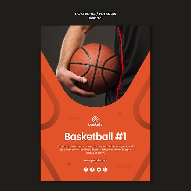 Conception De Modèle D'affiche De Basket-ball PSD Premium