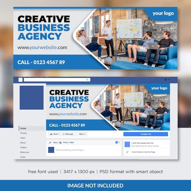 Conception de modèle de couverture facebook de la creative business agency sur facebook PSD Premium