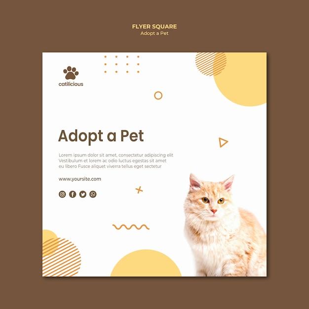 Conception De Modèle De Flyer Carré Pour Adoption D'animaux Psd gratuit