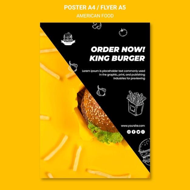 Conception De Modèle De Flyer De Nourriture Américaine Psd gratuit