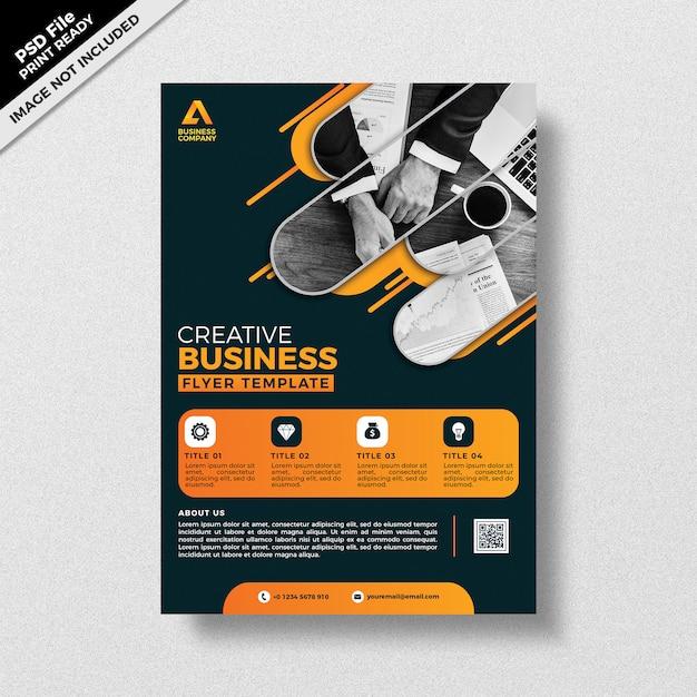 Conception de modèle de flyer thème créatif style thème sombre PSD Premium