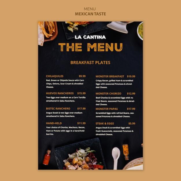 Conception de modèle de menu de restaurant mexicain Psd gratuit