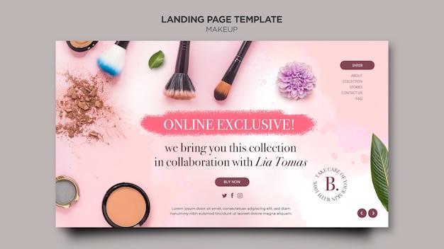 Conception De Modèle De Page De Destination De Maquillage Psd gratuit