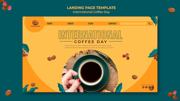 Conception De La Page De Destination De La Journée Internationale Du Café Psd gratuit