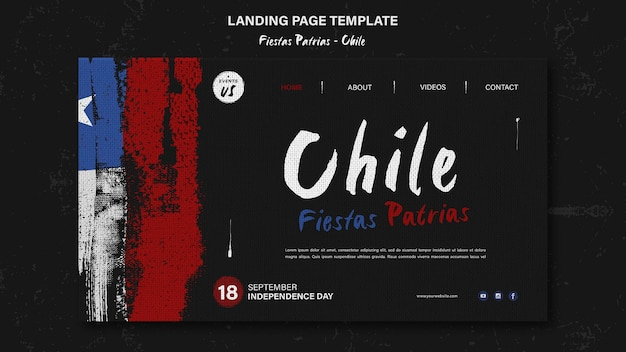 Conception De La Page De Destination De La Journée Internationale Du Chili Psd gratuit