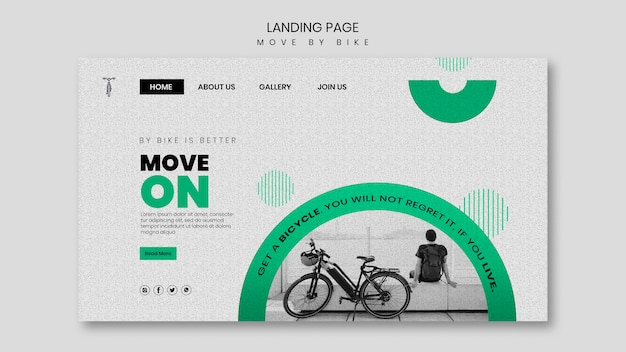 Conception De La Page De Destination Move By Bike Psd gratuit