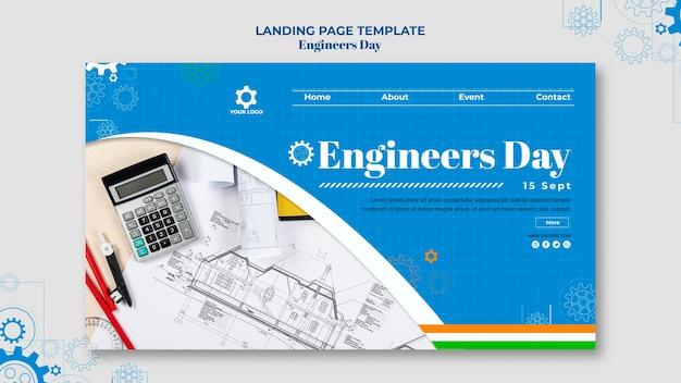 Conception De Pages De Destination Pour La Journée Des Ingénieurs Psd gratuit