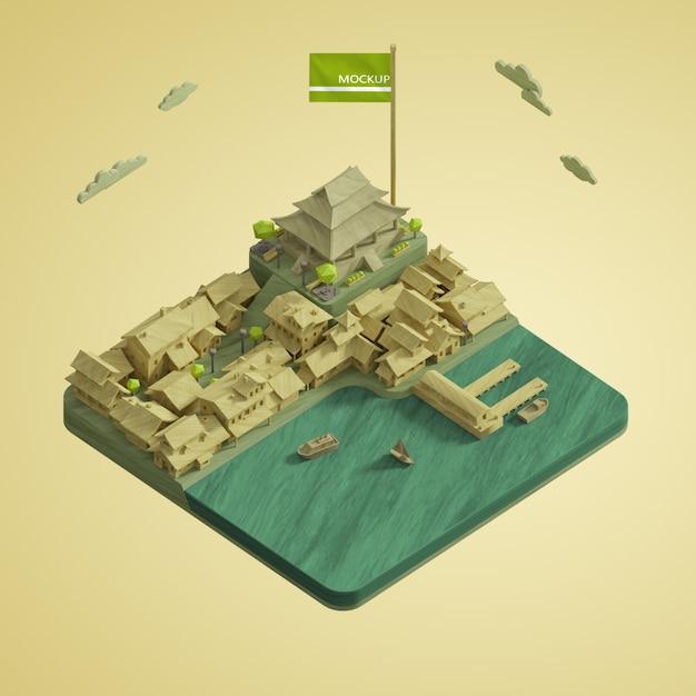 Conception De Villes Modèle 3d De La Journée Mondiale Psd gratuit