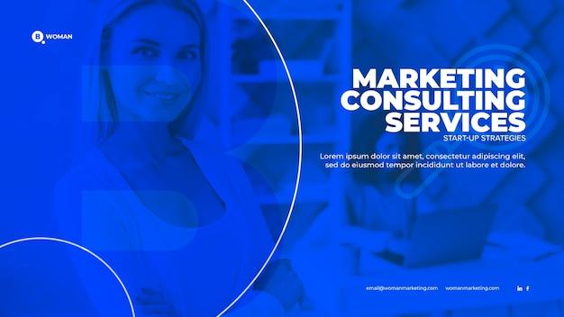 Contenu Marketing Avec Une Femme D'affaires Psd gratuit