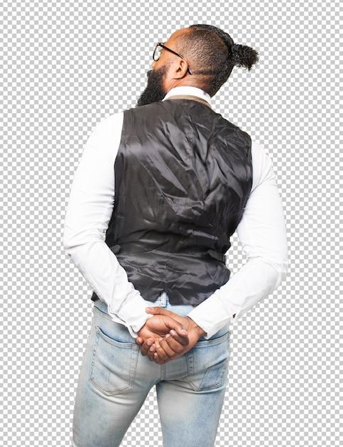 Cool Black Homme En Arrière PSD Premium