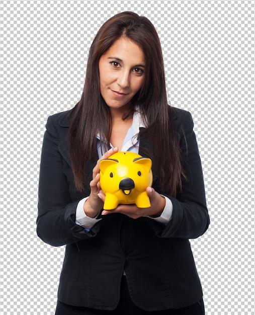 Cool femme d'affaires avec la tirelire PSD Premium