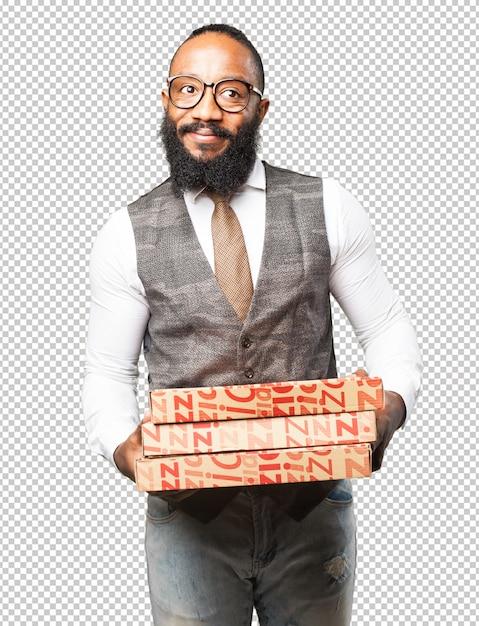 Cool homme noir avec une boîte à pizza PSD Premium
