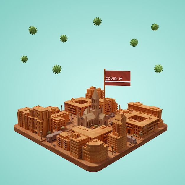 Coronavirus City 3d Building On Table Psd gratuit