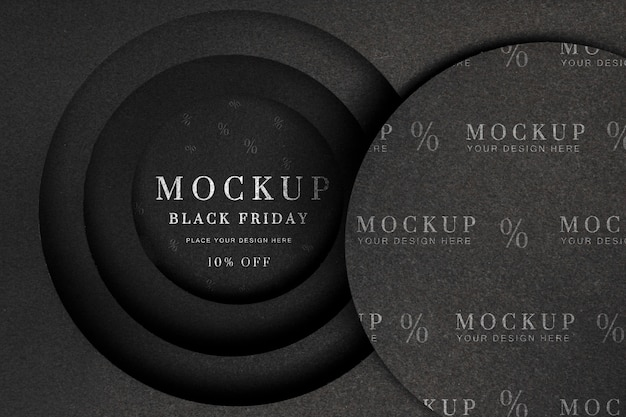Couches Circulaires De Maquette De Vendredi Noir Psd gratuit
