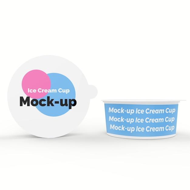 Coupe de crème glacée mock up PSD Premium