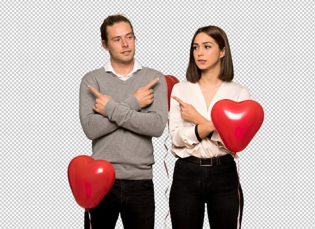 Couple En Saint Valentin Montrant Les Latéraux Ayant Des Doutes PSD Premium
