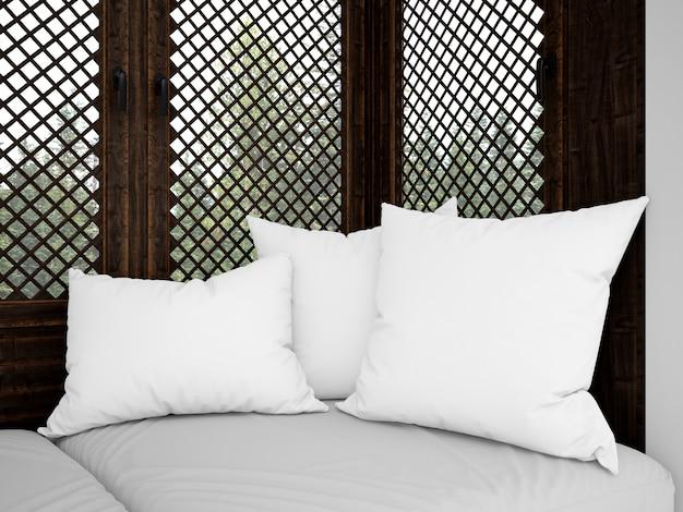 Coussins Blancs Réalistes Sur Un Canapé Rustique Psd gratuit