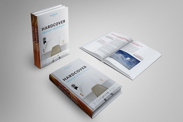 La couverture du livre et les pages se modulent Psd gratuit