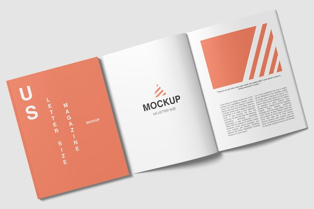 Couverture De Format Lettre Us Et Maquette De Magazine Ouverte PSD Premium