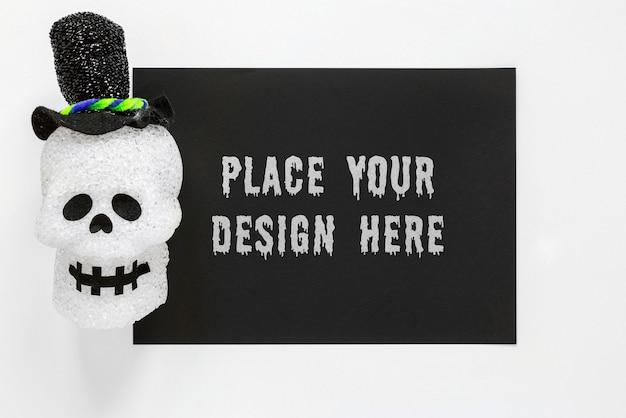 Crâne De Smiley Portant Un Chapeau Noir Psd gratuit