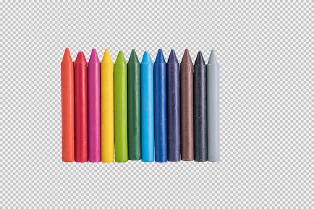 Crayons de couleur isolés sur fond blanc PSD Premium