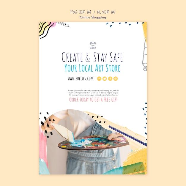 Créer Et Rester Un Modèle D'affiche à La Maison Psd gratuit