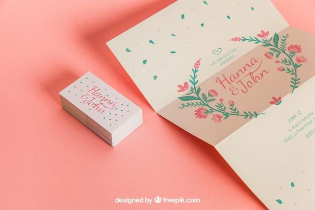 Cute Invitation Et Cartes De Mariage Psd Gratuite