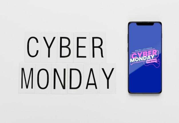 Cyber lundi concept smartphone maquette Psd gratuit