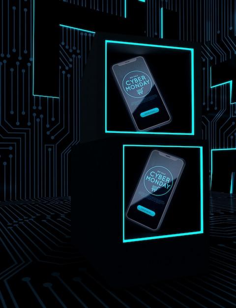 Cyber lundi téléphones sur des cadres de néon Psd gratuit