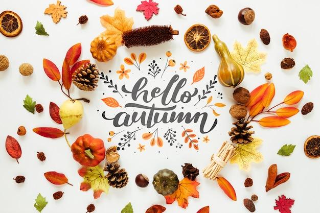 Décor coloré de feuilles d'automne séchées Psd gratuit