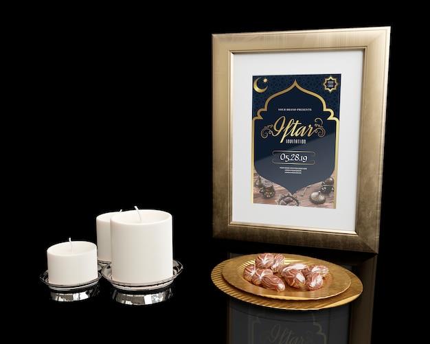 Décoration Du Nouvel An Islamique Avec Fond Noir Psd gratuit