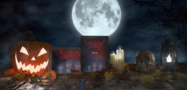 Décoration Effrayante Pour Halloween Avec Des Affiches Encadrées De Films D'horreur Psd gratuit