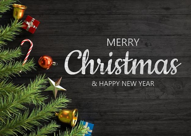 Décoration De Noël Sur Bois Psd gratuit