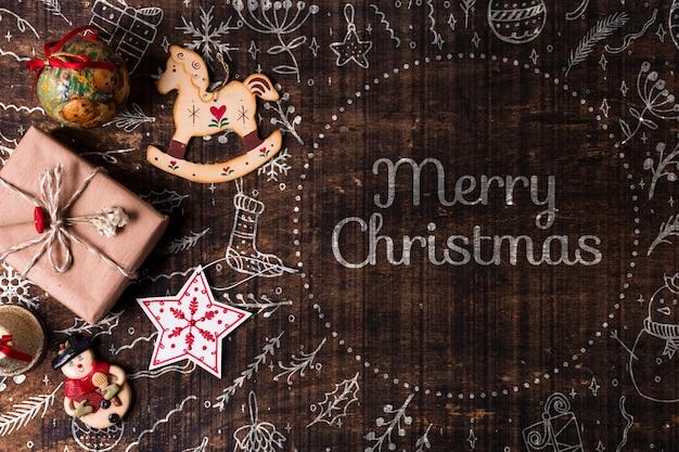 Décorations Et Cadeaux De Noël Sur Table Psd gratuit