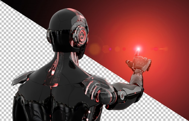 Découpe Le Doigt Pointé Du Robot Noir Et Rouge PSD Premium