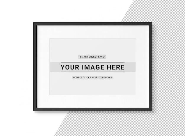 Découper la maquette du cadre photo noir rectangulaire PSD Premium