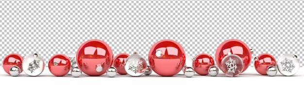 Découpez Des Boules De Noël Rouges Et En Verre Isolées Alignées PSD Premium