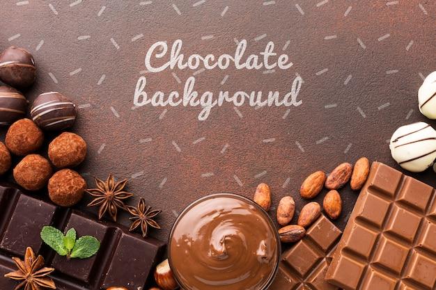 Délicieux Chocolat Avec Maquette De Fond Brun Psd gratuit