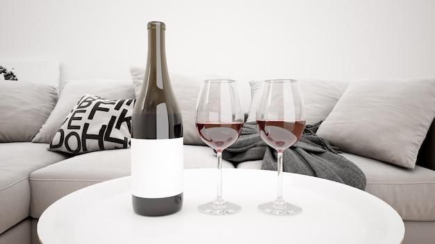 Délicieux Vin Rouge Dans Une Maquette De Salon Moderne Psd gratuit