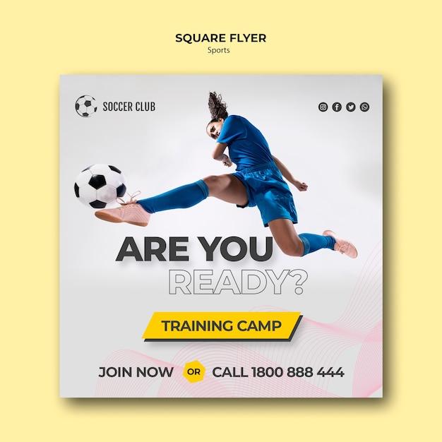 Dépliant Du Camp D'entraînement Du Club De Football Psd gratuit