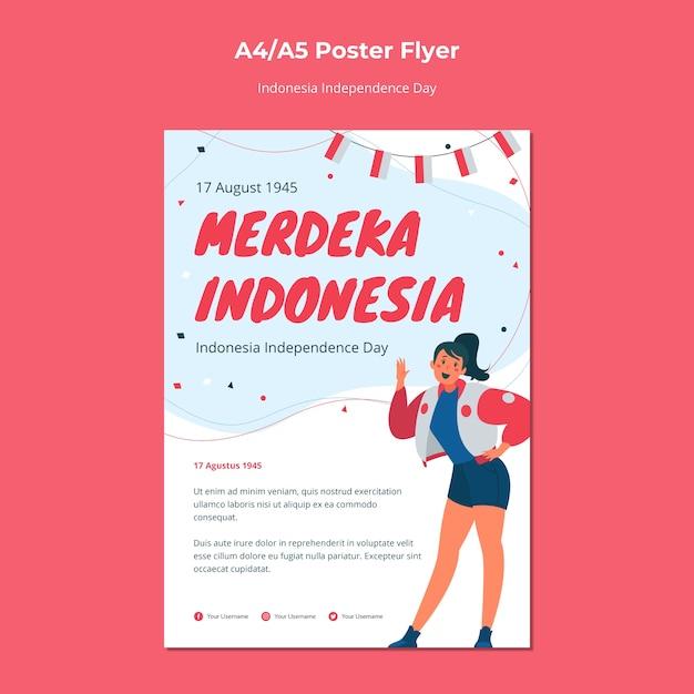 Dépliant Du Jour De L'indépendance De L'indonésie Psd gratuit