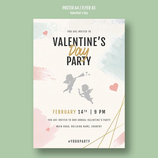 Dépliant d'invitation à la fête de la saint-valentin Psd gratuit
