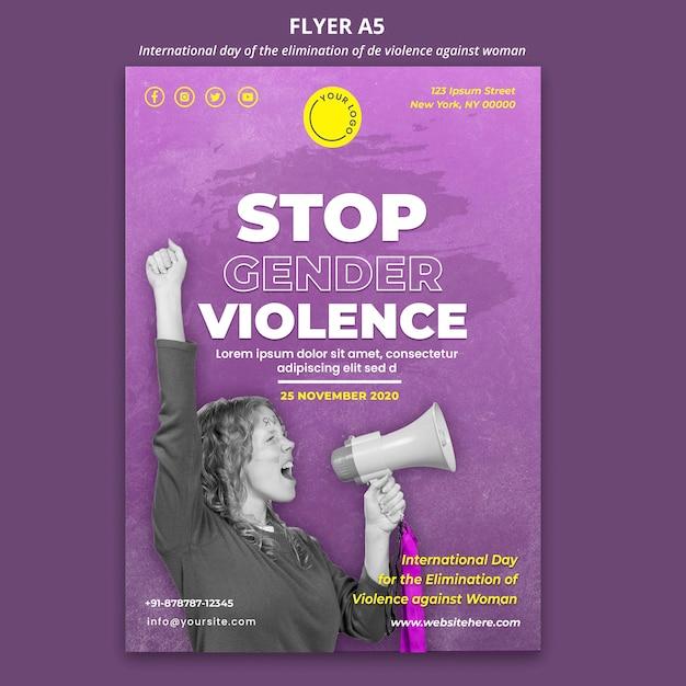 Dépliant De Sensibilisation à La Violence à L'égard Des Femmes A5 Psd gratuit