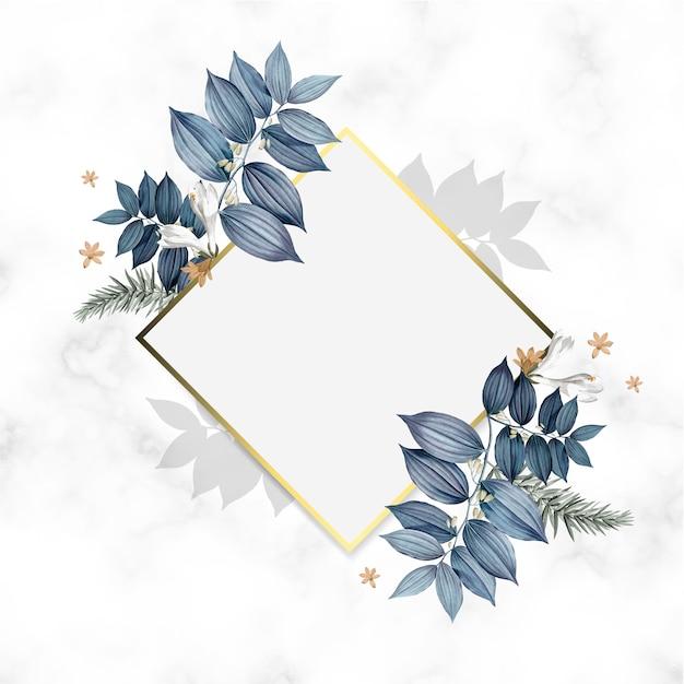 Design De Cadre Doré Floral Vide Psd gratuit