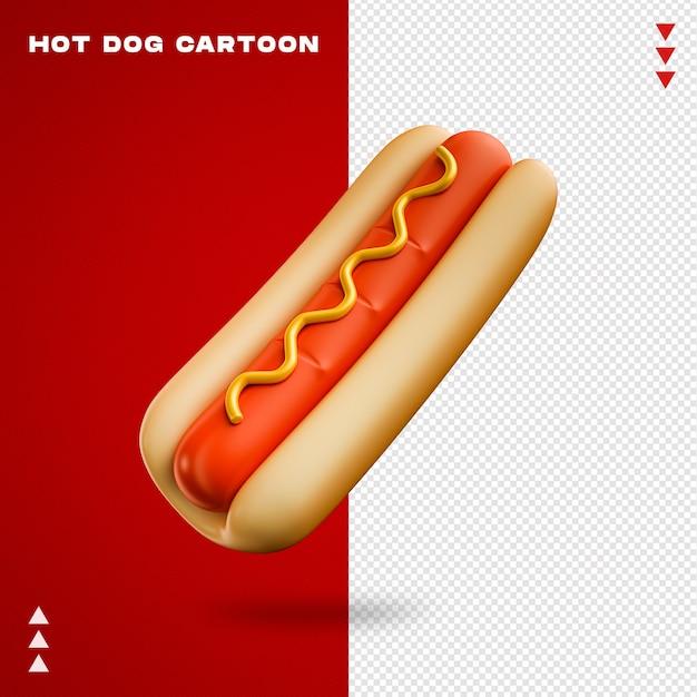 Dessin Animé De Hot-dog En Rendu 3d Isolé PSD Premium