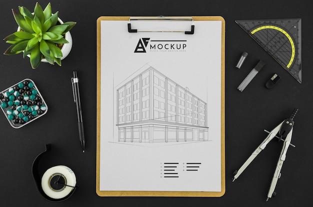 Dessin D'architecture Vue De Dessus Avec Maquette Psd gratuit