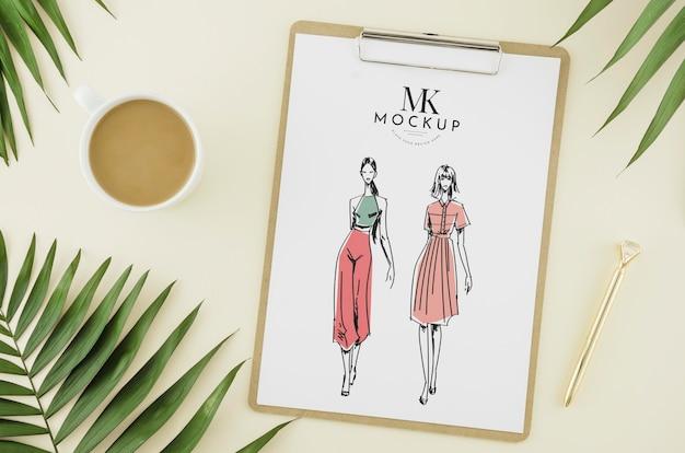 Dessin De Mode Vue De Dessus Avec Maquette Psd gratuit