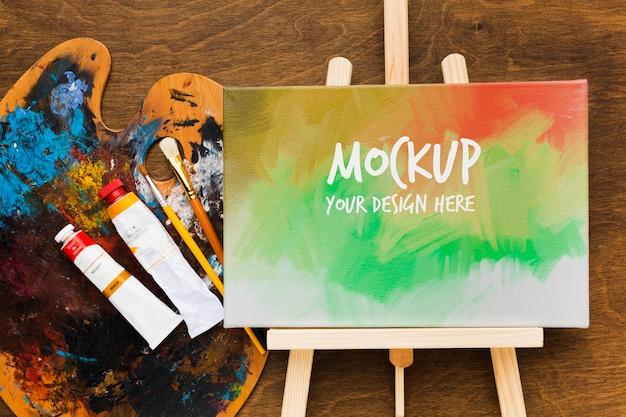 Dessus De Bureau D'artiste Avec Peinture Psd gratuit