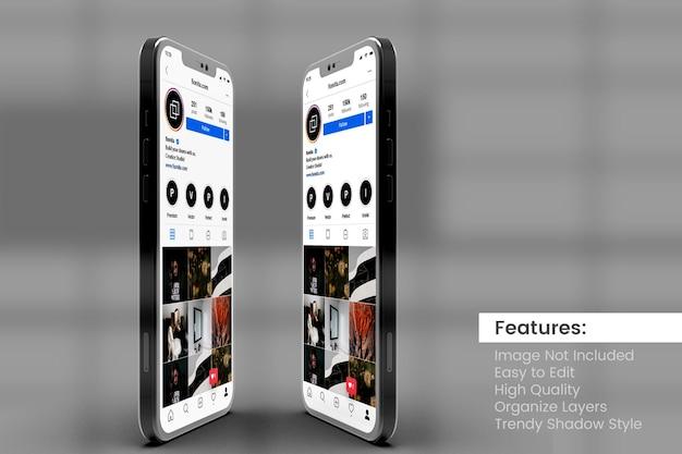 Deux Maquettes De Smartphone Personnalisables De Haute Qualité Pour Afficher Le Modèle De Publication Et D'histoire Instagram PSD Premium