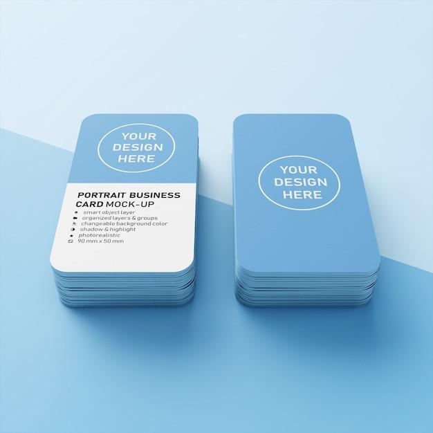 Deux piles de carte de visite verticale réaliste de 90x50 mm avec des angles arrondis maquette de conception dans la vue en perspective avant PSD Premium
